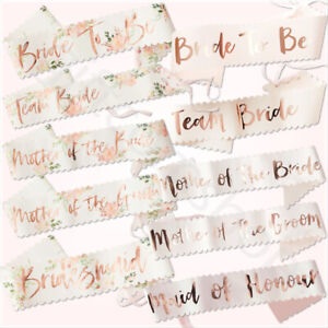 Rose Gold Luxury Hen Night Do Party Sashes Bride To Be Bridesmaid Mother Of Sash