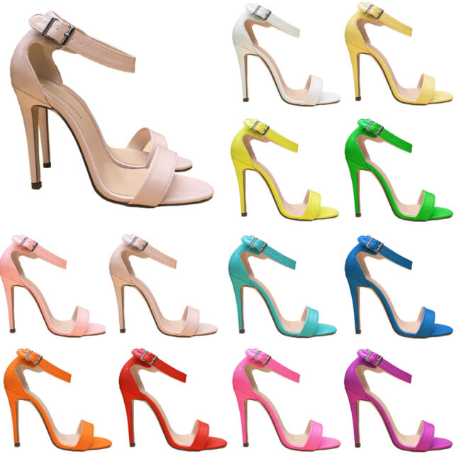LADIES WOMENS PARTY TOE BRIDAL PATENT HIGH HEELS SHOES SANDALS