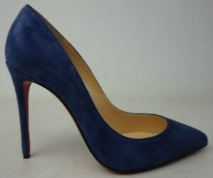 Christian-Louboutin-Pigalle-Follies-China-Blue-Suede-Pointy-Toe-Pumps-Size-35-5
