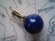 Lapislazuli Kettenanhänger Gold 333, blauer Lapis Anhänger Kugel 10 mm Gold 333