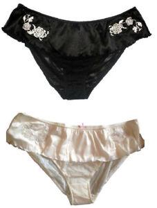 New-Satin-Feel-Ladies-Knickers-Pants-Briefs-Panties-Skirted-waistband
