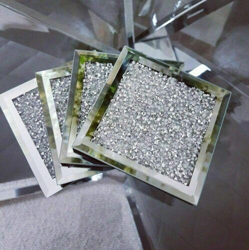 4x Carré Miroir Broyé Cristal Coasters Sparkle Table Tapis Diamond Glitter U