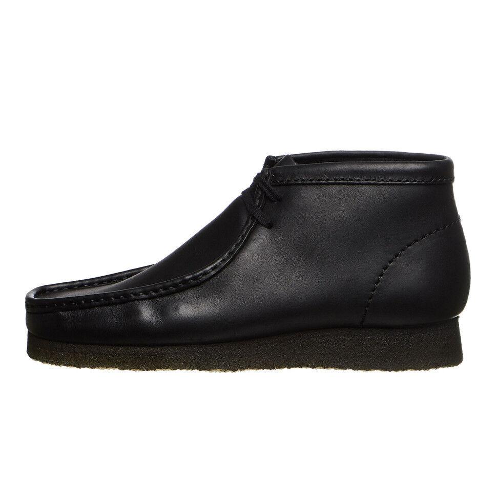 Clarks - Wallabee Boot Black Black Black Leather Schnürschuhe Schuhe 51c23a