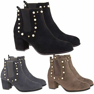 Konstruktiv New Womens Chelsea Ankle Boots Ladies Studded Low Mid Block Heel Shoes Size 3-8 Neueste Mode