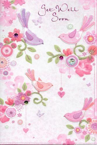 ISABELS GARDEN GET WELL SOON CARD 3D HANDMADE E1 TOP QUALITY,PINK BIRDS