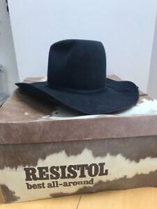 799632dd741e3 Resistol 6-7 8 Las Vegas Navy Western Cowboy Long Oval Hat Texas USA ...