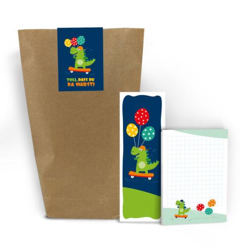 Lesezeichen Gastgeschenke Dinosaurier Geschenktüten Aufkleber Dino Blöcke