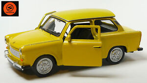 Trabi-Jubile-2014-50-J-Trabant-601-voiture-miniature-11-cm-Welly-special-couleur-jaune