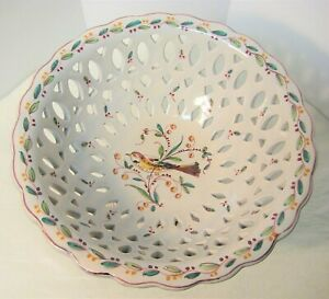 Outeiro Agueda Pedestal Bowl Reticulated Hand Painted Vtg Bird Portugal 9-1/4""