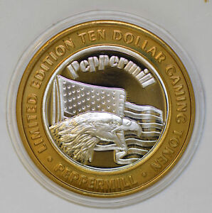 casino-chip-token-silver-eagle-animal-peppermil-nevada-BU0347-combine-shipping
