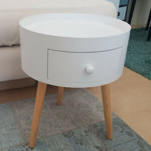 Small Round Side Table 1 Drawer Storage, Small Round End Table With Drawer