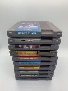 Nintendo NES Lot of 10 Games - Mario, Tetris, Dragon Warrior, Rambo