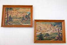 """Vintage Pair Paint By Number Magnificent Mountains Snowcapped Landscape 14""""x10"""""""