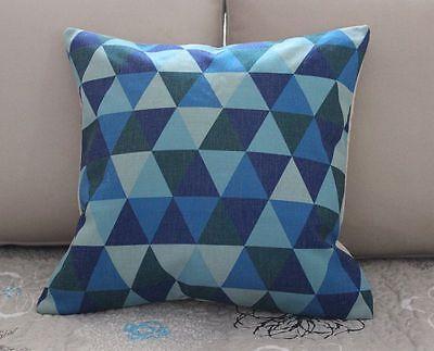 "17"" Blue Geometries Cotton Linen Cushion Cover Throw Pillow For Home Decor B321"