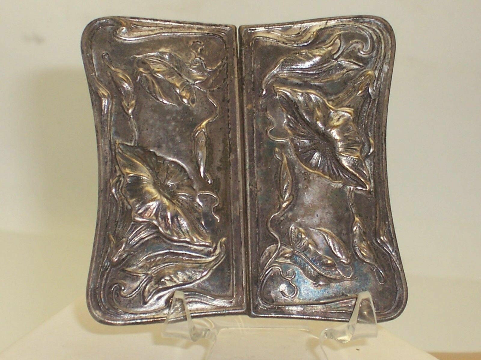 Beautiful Art Nouveau Silver Plated Repousse Flower Design Lg Sash Belt Buckle