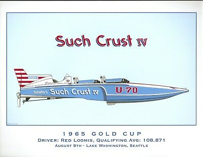 Tully Such Crust IV 1965 Gold Cup Hydroplane Print by R.J