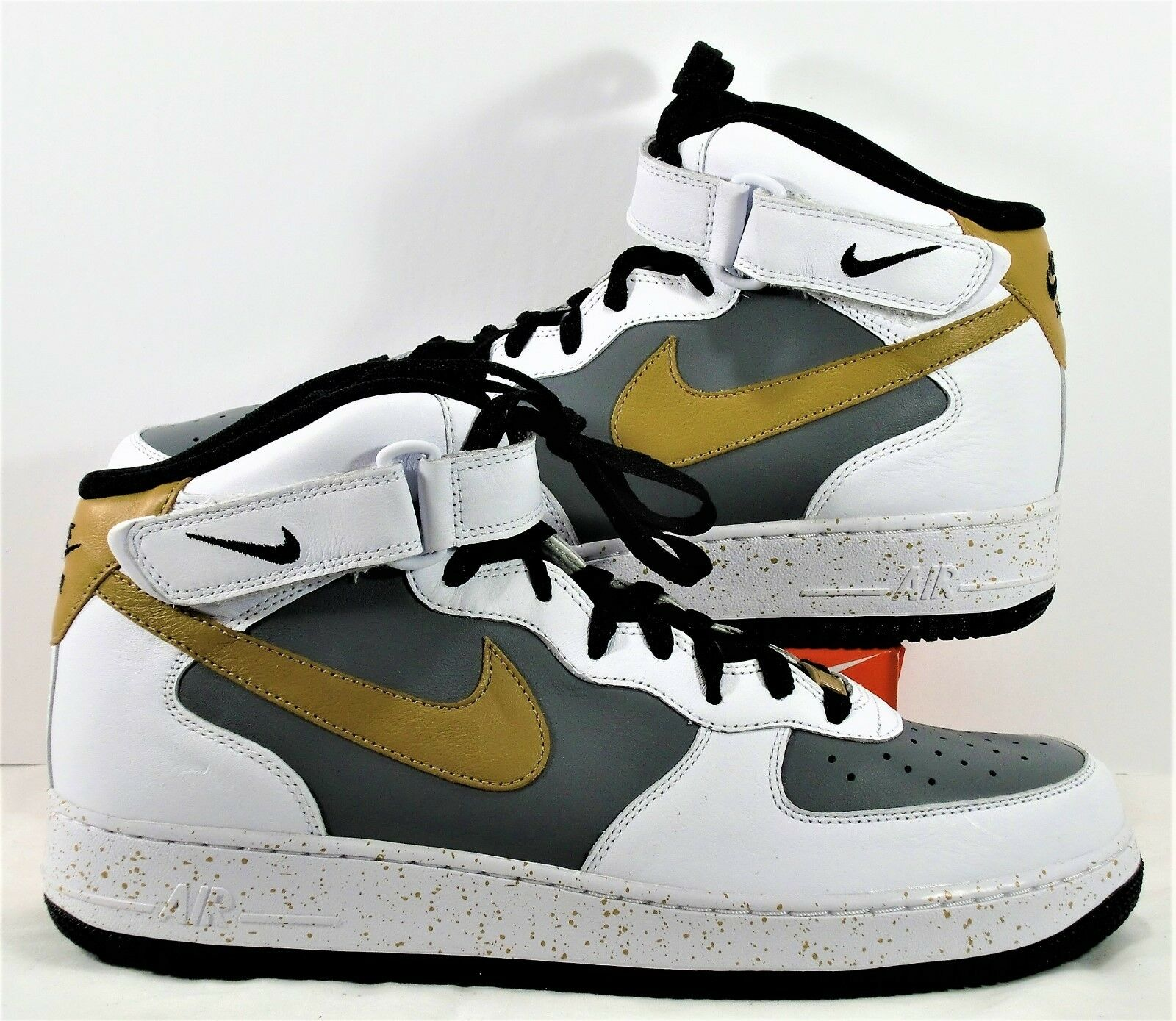 Nike ID Air Force 1 Mid White & Grey & NEW Gold Basketball Sz 11.5 NEW & 819681 300 23429b