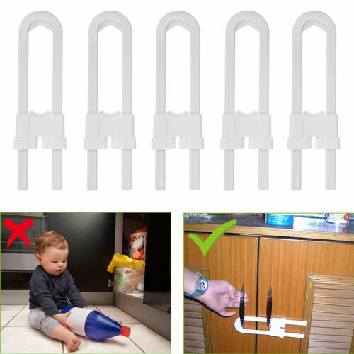 4//8//12pcs Safety Toddler Cabinet Door U-Shape Drawer Lock For Child Baby Kid US