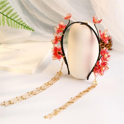 Women Lolita Floral With Tassles Hair Hoop Hanfu Cosplay Chinese Style Headpiece