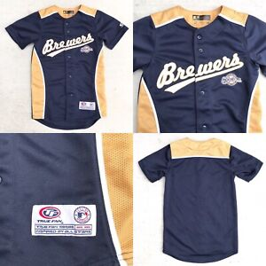 online store 280da ad411 Details about Milwaukee Brewers Navy Blue / Gold True Fan MLB Baseball  Jersey Youth Size S 6/7