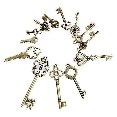 Lot 13 Antique Vintage Old Look Bronze Tone Pendants Jewelry Mix Skeleton Keys