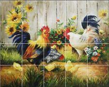 24 x 30 Ceramic Tile MuraL Backsplash or Wall Decor' Roosters #324