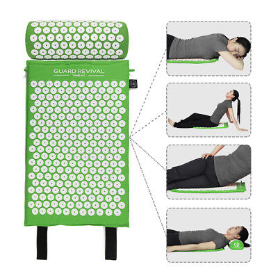 Obedient Green Acupressure Mat And Pillow Set Back Neck Pain Stress Tension Muscle Relaxa Acupuncture