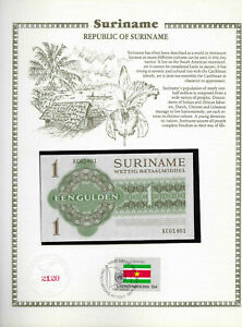 Suriname 1 Gulden 1974 UNC P 116d w/ UN FDI FLAG STAMP KC 01401