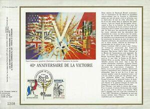 Foglio-CEF-1er-Giorno-Sul-Seta-Francia-40eme-Compleanno-De-La-Victoire-1985