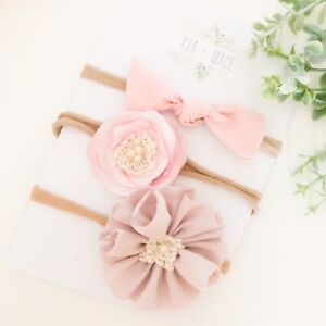 3-X-Bow-Headband-Pack-Pink-Flower-Baby-Girl-Newborn-Baby-Pearl-Nude-Nylon