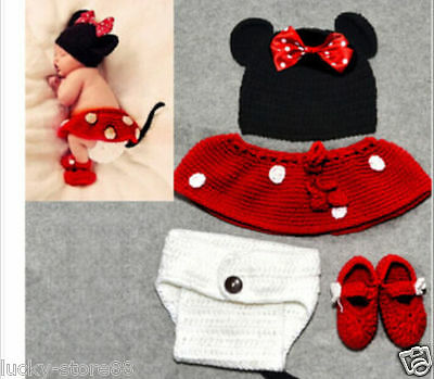 4pcs/set Crochet Newborn Baby Costume Infant Knit Minnie Mouse Outfit Photo Prop