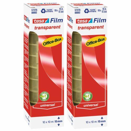 2 x tesafilm Klebeband Office-Box mit 2 x 10 Rollen transparent 20 x 10m x 15