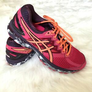 Asics-Womens-Size-9-5-Running-Shoes-Fluid-Ride-gt-2000-Camo-T6619-Pink-Orange