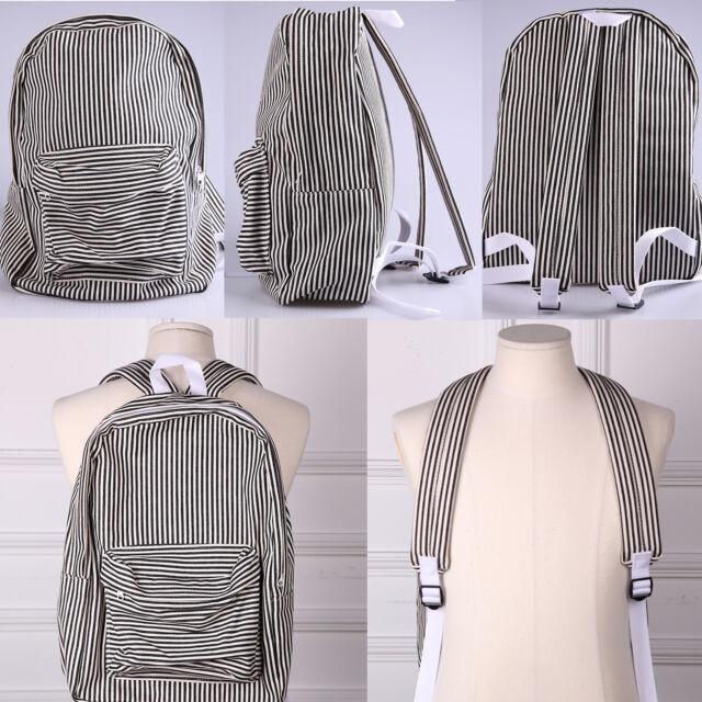 Korea Fashion Black Stripes Backpack School Travel Bag Cotton Polyester NEW Gift