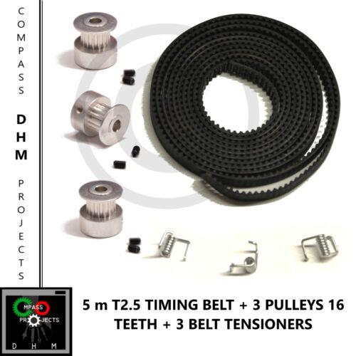 RepRap 3D printer 5m T2.5 Timing Belt with 3 Pulleys 16 teeth /& grubscrews