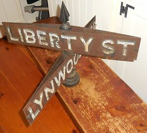 Vintage rare cast metal street sign liberty st lynwood ter for 18 terrace street orange ma