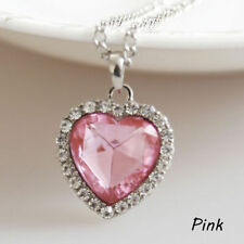 Pink Sapphire Heart Of The Ocean Pendant Necklace Hearts Girlfriend USA SELLER
