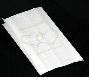 100-White-Food-Grade-Paper-Wedding-compliment-twin-silver-heart-cake-macaron-bag
