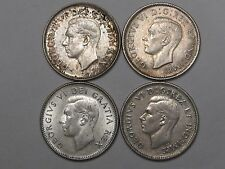 4 Better Grade Canadian 10 Cent Coins: 1947 ML, 52, 49 & 42. 10c. CANADA.  #7