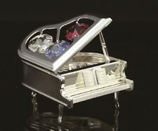 SILVER PLATED PIANO ORNAMENT FIGURINE STUDDED W COLOR SWAROVSKI CRYSTAL ELEMENTS