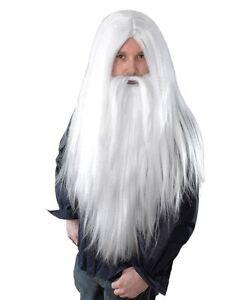Mens-Long-White-Wizard-Beard-amp-Hair-Wig-Fancy-Dress-Accessory