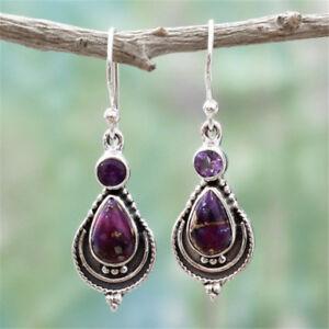 Vintage-Women-Lady-Amethyst-Gemstone-Wedding-Engagement-Earrings-Silver-Jewelry