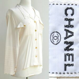ca4232193f647 Chanel Silk Blouse Top Heavily Pleated Detail Gold 4 Leaf Clover ...