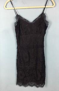 Topshop Black Scallop Eyelash Lace Strappy Bodycon Mini Dress 10 - B65