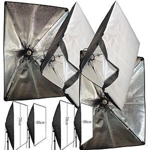 2pcs 50cm x 70cm Photo Video Studio Flash Light Lamp Bulb Tube CFL Softbox E27
