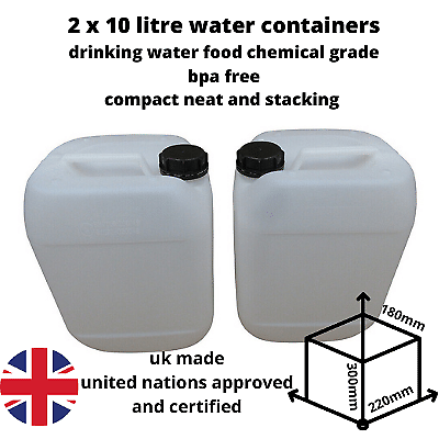 2 x 10 litre water container food grade stacking compact strong bpa free new