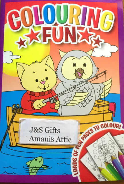 New Kids Childrens Fun Colouring Activity Learning Book 48 Pages Owl And Cat