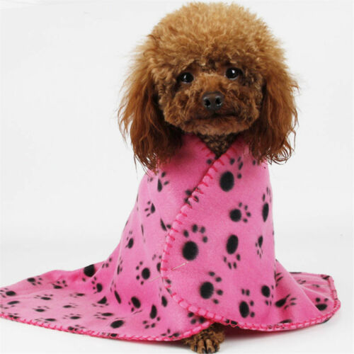 Pet Soft Blanket Puppy Kitten Bed Mat Cover Hot Sale Cute Dog Paw Print Pink HOT