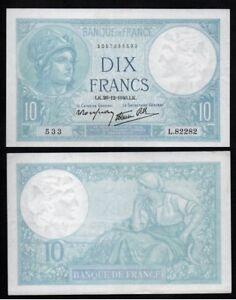 10 Francs Minerve 26 - 12 -1940 Presque Neuf !!!! ChronoméTrage Ponctuel
