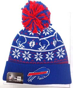 ff2f57acb New Era Men's Buffalo Bills Blue Sweater Chill Cuffed Knit Hat with ...